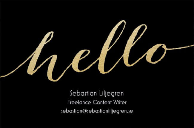 Frilansskribent Sebastian Liljegren visitkort
