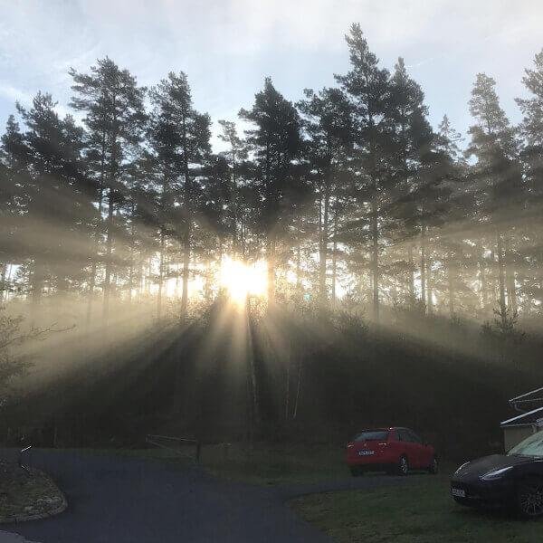 Soluppgång på Milstensvägen Hestra